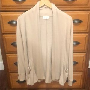 Lucky brand open camel cardigan with pockets